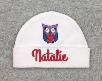 Personalized baby hat with owl - micro preemie, preemie, newborn - baby girl, baby shower gift, preemie gift, newborn pictures, NICU gift