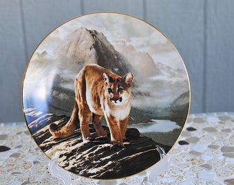 "Vintage ""The Cougar"" Porcelain Collector Plate / Cougar Porcelain Plate / Charles Frace The Worlds Most Magnificent Cats Second Issue"