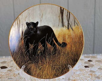"""Vintage """"Powerful Presence"""" Porcelain Collector Plate / Black Panther Porcelain Plate / Charles Frace The Worlds Most Magnificent Cats"""