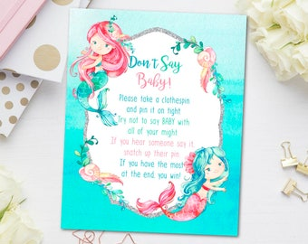 Mermaid Baby Shower Clothespin Game, Mermaid Don't Say Baby Game, Mermaid Baby Shower Games, Under the Sea Games, INSTANT DOWNLOAD