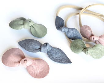 Mauve, Sage, and Lavender Blue Leather Bows // Leather Knotted Hair Bows  // Bow 3 Pack //  Holiday Bow Sets //Leafy Treetop Leather