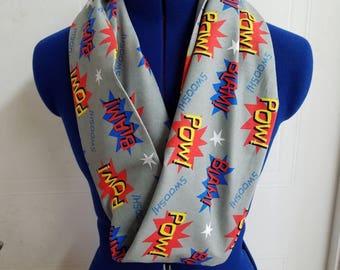 Super - hero - comic - book - vintage - retro - print  - single - loop - scarf