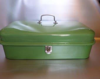 Vintage enamel bread bin * enamel bread box * bread bin * brotkasten * boîte au pain * caisse au pain émail * 1950s