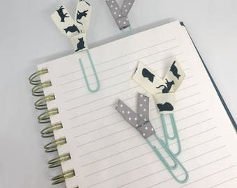 Cats and Polka Dots Planner Clips School Supplies Ribbon Floral Paper Clips Back to School or Home Office Bookmarks Planner Accessories