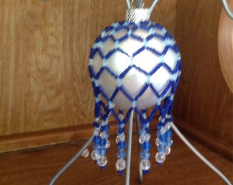Blue Beaded Ornament Cover