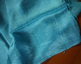 "Traditional raw ""glass"" silk textile - asian ethnic silk textile - handwoven Lao Thai scarf silk weaving - fine glass silk sky blue"