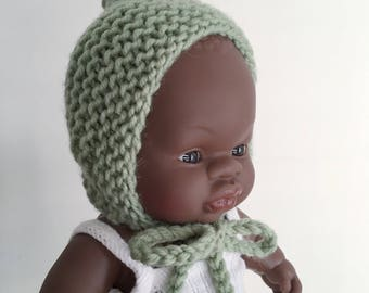 Olive Doll Bonnet | Miniland 21cm Baby Doll Bonnet | Hat for doll | Miniland baby doll clothes | miniature bonnet | merino doll bonnet