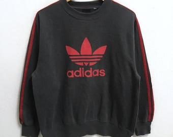 RARE!!! Adidas Trefoil 3 Stripes Big Logo Crew Neck Sweatshirts Hip Hop Swag L Size