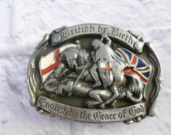 Vintage British by Birth St George Belt Buckle Needs Repair or Craft and Art Supply