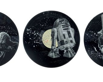 star wars theme wall art stencil art on vinyl record upcycled