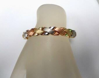 14K Tri Color Gold Bracelet 8.5mm Wide by Aurafin