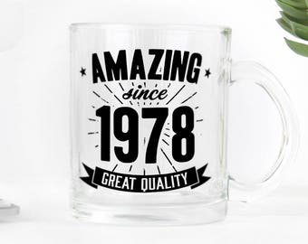 Birthday clear glass mug, great present for 40th birthday