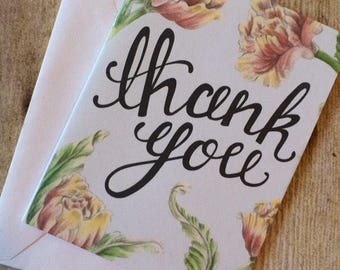 Tulip Thank You Illustrated Handmade Floral Card