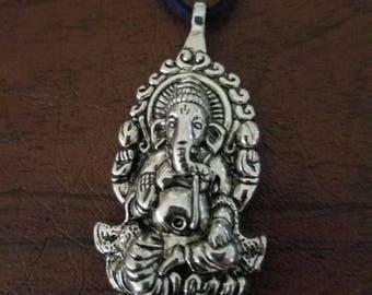 Hindu Ganesh on black suede cord