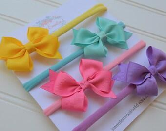 Set of 4 Bows - Nylon Headbands Baby - Nylon Headbands - Cute Headbands - Soft Headbands - Stretchy Headband - Baby Girl Bows - Girl Bows