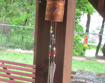 Recycled Copper Jug Silverware Wind Chime