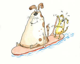Dogs on a Paddle Board