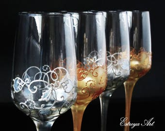 Hand painted toasting flutes, wedding gift, 25th anniversary, 8th anniversary, silver & bronze glassware gift, set of 2 or set of 4