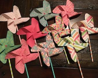 Flamingos, Pineapples Paper Pinwheels, Birthday Pinwheels, Party Pinwheels, Paper Pinwheels, Party Decorations, Party decor, Centerpiece