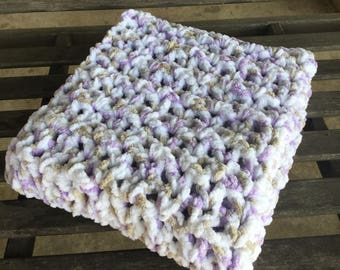Handmade crochet baby blanket/afghan girl purple/taupe/white very soft and thick