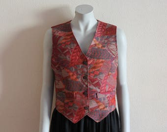 Women's Vest Tapestry Vest Red Women Vest Romantic Waistcoat Sleeveless Jacket
