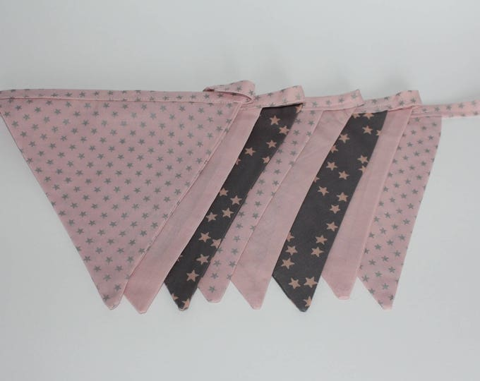 New: Flag Garland / festive flags, pink and gray to decorate baby's room or make the birthday of the most