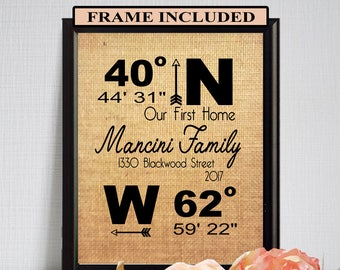 FRAMED Closing Gift/ Housewarming Gift/ New Home Sign/ First Home Sign/ Address Sign/ Longitude Latitude Sign/ Framed Burlap Print/ Realto