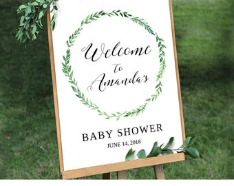 Printable Baby Shower Welcome Sign Template | Editable Welcome Sign | Rustic Green Wreath | Instant Download | Digital 8x10 & 18x24 #013WS