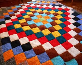 Boho wool blanket Vintage single bed blanket Knit baby blanket Vintage wool blanket Handknitted blanket Super thick blanket Wool coverlet