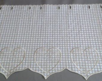 lace curtain ready to install... breeze frieze gingham and heart