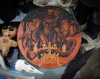 Altar pentacle - Baron Samedi, Veve, Voodoo, Engraving and Hand painted
