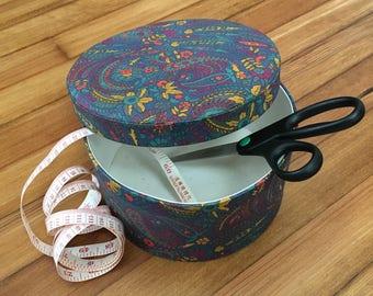 FREE US SHIPPING | Vintage Purple Teal Orange + Mustard Paisley Floral Print Hat Craft Storage Box