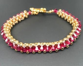 Swarovski Crystal Bracelet, Swarovski bracelet, crystal bracelet, Ruby bracelet, 24k gold bracelet, beaded bracelet, woven bracelet