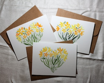 Floral Valentine's Cards, Floral Heart Cards, Mother's Day Floral Watercolor Cards, Valentine's Cards, Mother's Day Cards