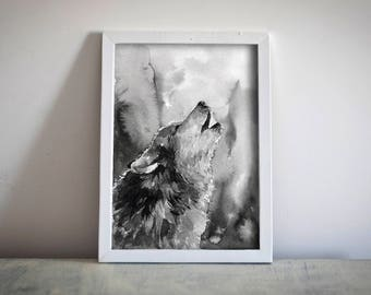 Wolf Watercolor Downloadable Print Black and White Animal Drawing Artwork Printable Monochrome Home Decor Wall Art Grey Wolf Digital Print