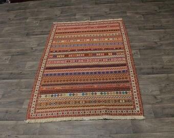 4X6 Strip Design Handmade Sumak Herati Persian Area Rug Oriental Carpet 4ʹ5X6ʹ3