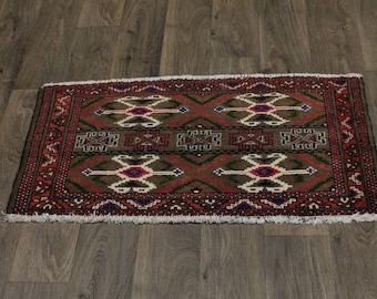 Great Shape Unique Handmade Turkoman Persian Area Rug Oriental Carpet 1ʹ9X3ʹ5