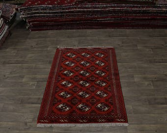 Great Shape Handmade Tribal Red Turkoman Persian Area Rug Oriental Carpet 4X6