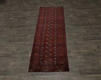 Beautiful Handmade Runner Tribal Turkoman Persian Area Rug Oriental Carpet 3X9