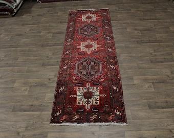 Great Shape Geometric Heriz Goravan Persian Runner Rug Oriental Carpet 3ʹ5X12
