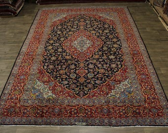 Excellent Handmade Signed Navy Kashan Persian Rug Oriental Area Carpet 10X14