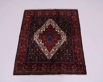 Amazing Geometric Rare Hand Knotted Bidjar Persian Rug Oriental Area Carpet 4X5
