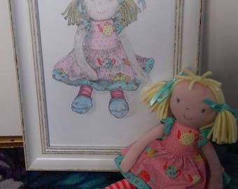Doll with hand drawn framed picture
