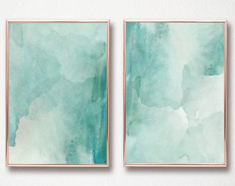 Abstract Mint Watercolor Set of 2 Digital Art Prints - Set of 2 instant download turquoise mint sea blue green ocean print 12x16 and 11x14