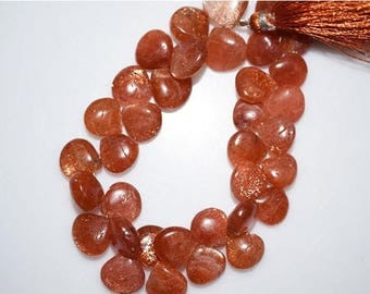 "50% OFF 1 Strand Sunstone Smooth Heart Shape Beads-Sunstone Heart Shape Briolette,11.50x11.50 - 15x15 mm, 8"", BL838"