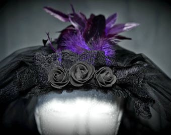 Gothic Scleier, 2 layers with roses and purple feathers/big veil with roses and purple feathers