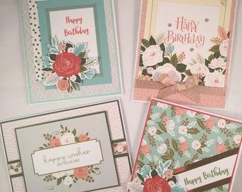 Happy Birthday card assortment, CTMH cards, Feminine Birthday Card assortment, CTMH Hello Lovely, Vintage look Birthday cards