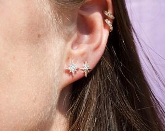North star - tiny earrings - tiny cz earrings - star earrings - star stud - starburst earrings - cz earring - zodiac jewelry J11376-STUDS