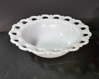 Vintage Anchor Hocking  milk glass, open lace,  Old Colony bowl