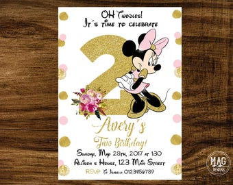 Pink and Gold Minnie Mouse Birthday Party Invitation - Minnie Mouse Invitation - Minnie Mouse Birthday. Digital File.